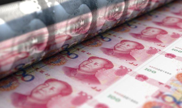 Yuan-Scheine in Druckerei