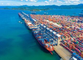 Containerschiffsverkehr, Shenzhen City, Guangdong Province, China